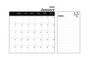 2009년 기축년 달력(1월~12월),메모가능