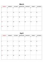 2016년도 달력형 월간계획표 (기본)