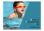 PPT양식 템플릿 배경 - 스포츠, 수영하는 소년