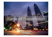 PPT양식 템플릿 배경 - 감각적, 말레이시아, 도시야경2
