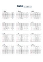 2018년 탁상 달력 - 완벽하고 깔끔한 엑셀 양식 / 완벽 달력 / 월별 달력 / 월별 계획