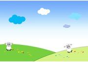 배경화면, 유아, 유치원, 동산, 주일학교, 어린이, 배경, 그림, 들판, 양떼, 초원, 어린양, 푸르름