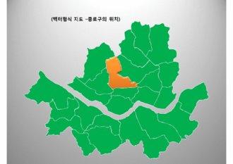파워포인트 2007용 서울시 종로구 지도(법정동 표시) 디자인 다이어그램입니다.(벡터형식)