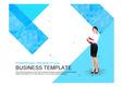 PPT 비즈니스 템플릿 양식(하늘색 폴리곤과 비즈니스 우먼)(Business Templates)