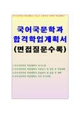 국어국문학과 자기소개서 학업계획서 (면접)