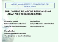 EMPLOYMENT RELATIONS RESPONSES OF ASIAN NIES TO GLOBALISATION