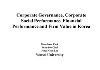 `Corporate Governance Corporate Social Performance Financial Performance and Firm Value in Korea`