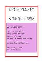 [추천][합격자기소개서] 지원동기 5편 예시